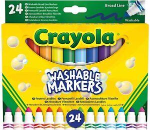 24 CRAYOLA WASHABLE MARKERS Felt Tips Colouring Pens Art School Fine Brush Paint