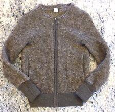 J CREW XS Wool Alpaca Varsity Bomber Sweater Jacket Full Zip Gray Women's