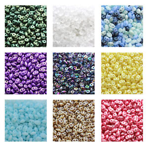 Matubo Superduo™ Pressed Beads Czech Glass 2.5x5mm Size 22.5g Tube More Colors