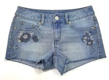 So Juniors  Small Light Denim Blue Jean Floral Pocket Short Booty Shorts NWOT