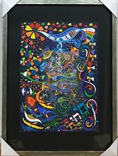 """RAPHAEL ABECASSIS """"CHAI - TO LIFE"""" ORIGINAL GOUACHE PAINTING ON PAPER FRAMED COA"""