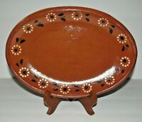 """Traditional Mexican Terracotta Red Barro Clay Serving Platter Dish  11 1/2"""""""
