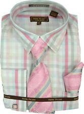 Mens Henri Picard Lt.Gray and Pink Plaid Printed Dress Shirt and Tie Set