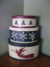 Primitive Country Folk Art Nesting/Stacking Boxes Christmas Themed Oval ~ SET/3