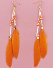F2030F Orange Feather Earrings Beads Dangle Eardrop Fashion Handmade Jewelry