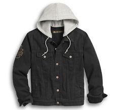 Harley-Davidson Men Skull Flag Denim Jacket Snap-Off Draw-String Hood 97427-20VM