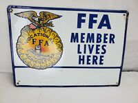 "Vintage 1950's or 60's ""FFA Member Lives Here"" Embossed Tin Sign"