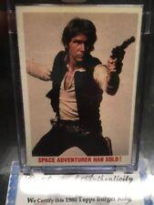 1980 Topps Star Wars Film Proof Card Vault Coa Han Solo Space Adventurer