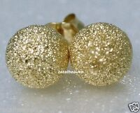 Sparkling 10mm BIG Solid 14K Yellow Gold Laser Cut Ball Stud Earrings GORGEOUS