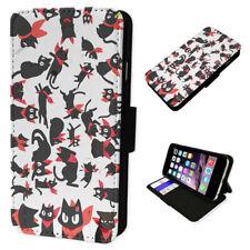 Black Bandanna Cats - Flip Phone Case Wallet Cover Fits Iphone 4 5 6 7 8 X 11