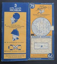 Carte MICHELIN old map n°79 BORDEAUX MONTAUBAN 1950 Guide Bibendum pneu tyre