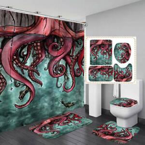 Red Octopus Art Print Shower Curtain Bath Mat Toilet Cover Rug Bathroom Decor