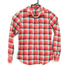 The North Face Womens Shirt Size M Red Checked Long Sleeve Collared Button-Front