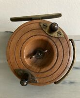 "ANTIQUE VINTAGE MILWARD'S WOOD AND BRASS STAR BACK 3"" CENTRE PIN FISHING REEL"