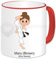 Personalised Martial Arts Mug- Karate Girl- Red Handle