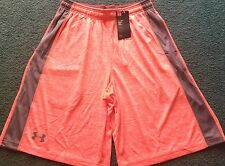 Nwt Mens Under Armour L Light Neon Orange/Gray Micro Print Shorts Large