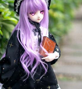 "1/3 8-9-10"" Pullip Bjd Doll Hair Wig Long Lilac Light Purple Curly Curls Wavy D3"
