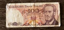 Poland 100 Zloty 1986 banknote Free Shipping
