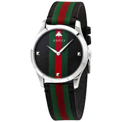 Gucci G-Timeless Tri-Color Dial Leather Men's Watch YA1264079