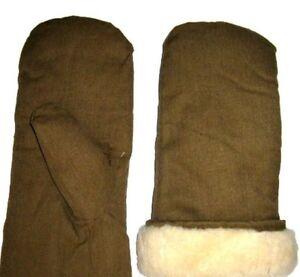 Vintage USSR Soviet Russian Army Winter warm Fur mittens sheepskin gloves