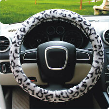 "Soft Leopard Plush Car Steering Wheel Cover Anti-slip 38CM 15"" Grey For Seasons"