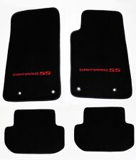 NEW! BLACK Floor Mats 2010-2015 Camaro Embroidered Logo and SS in Red 4 pc SET