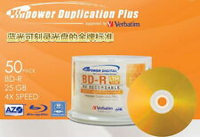 25 Verbatim Vinpower Gold Series BD-R BLURAY 25GB 4X Disc Repacked Print Surface