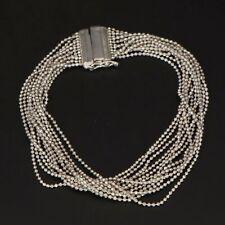 "Sterling Silver - 12 Strand Ball Bead Chain Link 7.5"" Bracelet - 13g"