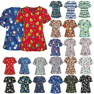 Christmas Women Nursing Uniform Scrub V-neck Short Sleeve Top With Pocket Blouse