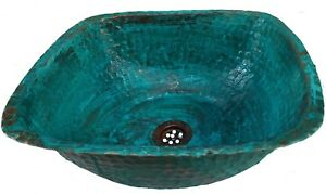 Antique Aged Oxidized Green Patina Copper Square Bathroom Sink Kitchen Remodel