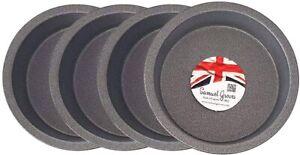 "4x Mini Pie Cake Tins 4"" (10cm) Non Stick Made in England"