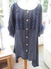Sugar Babe Navy spotted Linen dress/tunic Made in Italy M