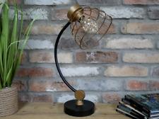 Industrial Black & Gold Table Desk Light Lamp Lighting Metal Battery Home Office