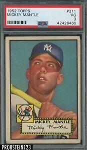 "1952 Topps #311 Mickey Mantle Yankees RC Rookie HOF PSA 3 VG "" ICONIC CARD """