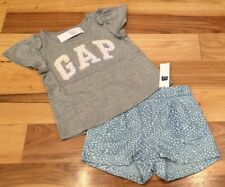Baby Gap Girl 12-18 Months Outfit. GAP Logo Shirt & Lightweight Blue Shorts. Nwt