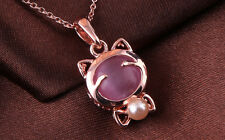 Cat 18K Rose Gold Plated Pendant Made W/Opal Stone N728-35