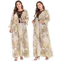 Dubai Embroidery Print Muslim Women Long Maxi Dress Kaftan Abaya Cocktail Robe