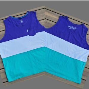 Men's Air Jordan Flight 3XL Pocket Tank Top Shirt Purple/White/Teal Colorblock