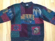 Womens Hand Knit WOOLRICH Sweater Sz MEDIUM 100% Wool - Nature Scene Blocks