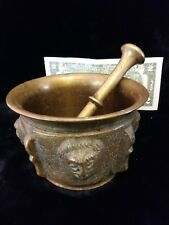 Antique/Vintage Heavy Mortar & Pestle With Lions!