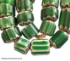 Necklace of CONTEMPORARY Green Chevron Reproduction Trade Beads