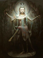 """Huge art Oil painting Chinese Dunhuang Flying Goddess beauty handpainted 24""""x36"""""""