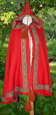 ANTIQUE HOODED CAPE c1850's RED WOOL METALLIC TRIM WITH TASSELS