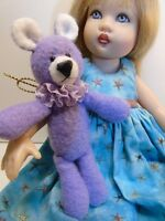 "Miniature Artist made Lavender Floppy Teddy Bear 3 1/2"" OOAK by Beth Diane Hogan"