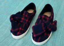New Zara Baby Navy And Red Checked Bow Pumps Size UK 7 Infant Euro 24