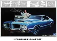 24x36 1971 OLDS 442 CUTLASS 4-4-2 AD ART POSTER PRINT 455 W-30 DR. OLDSMOBILE