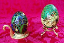 Pair of Hand Painted Wood Eggs on Brass Stands - Swan Purple Flowers Birds