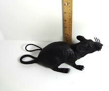 Animal Rodent Black Rat Medium Long Tail Squeezable Makes Noise Toy Diorama