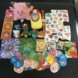 Vintage Pokemon Job Lot - Figures, Plush, Stickers, Tattoos, Tazos, Watch, etc