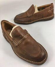 Fossil Mens 9 Brown Leather Loafers Shoes Contrast Stitching Crepe Soles